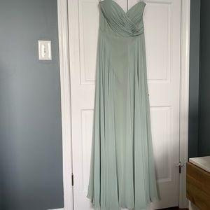 Jenny Yoo Strapless Chiffon Gown in Seaglass Sz. 8